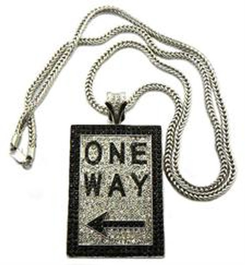 """""""ONE WAY Iced Out Pendant Silver"""