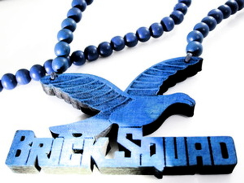 """BLUE  BRICK SQUAD  1017 Wooden Soulja Boy Pendant w/ FREE 36"" beaded chain"