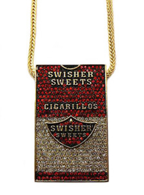 """""""Swisher Sweet piece RED/GOLD Pendant w/ FREE 36"""" Franco Chain"""