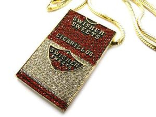"""""""ICED OUT SWISHER SWEETS PIECE & FRANCO GOLD CHAIN"""