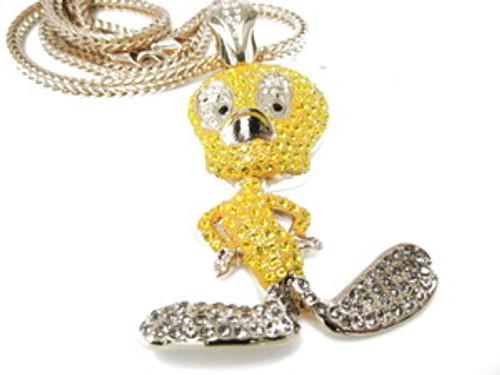 """""""1-YELLOW TWEETY CUSTOM DIAMOND CZ  w/FREE 36"""" GOLD Franco Chain"""