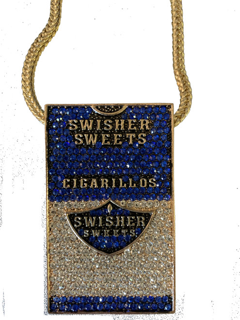 """Swisher Sweet piece SHOCK BLUE Pendant w/ FREE 36"" Franco Chain"