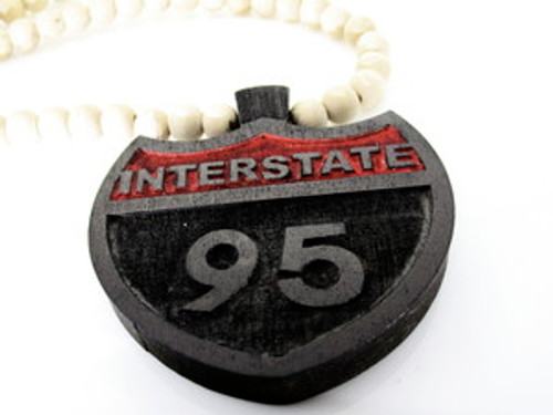 """Interstate i-95 Good Wooden pendant w/36"" beaded chain"