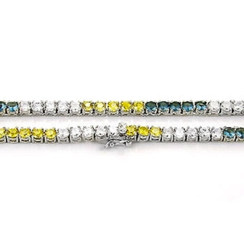 """Iced Out Stainless Steel Stone Chain Blue/Canary/Clear Stones 36"""