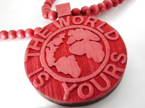 """""""The World Is Yours..RED Wooden Soulja Boy Pendant!"""