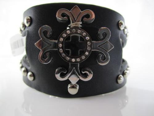 Black Leather Royalty Cuff