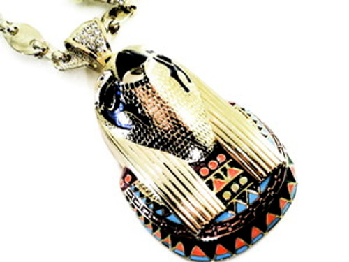 """Kayne West style -Big Power GOLD Pendant w/Thick Gold Chain"