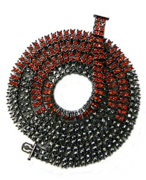 """Red and Black Hematite FULLY ICED OUT-High End  Stone Chain 36"""""""