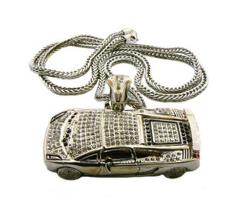 """Soulja Boy Fully Iced Out  3.5"" Silver Lamborghini pendant w /FREE 36"" Chain"