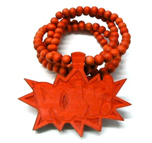 """""""Good Wooden RED """"POW"""" Pendant w/36"""" beaded chain"""