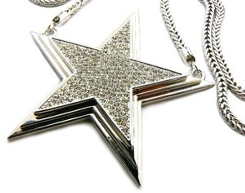 """ICED OUT 3D STAR PENDANT W/ FREE 36"" CHAIN"
