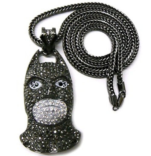 LARGE Iced Out  Yung Berg  Silver/Black Batman Piece 3.5""