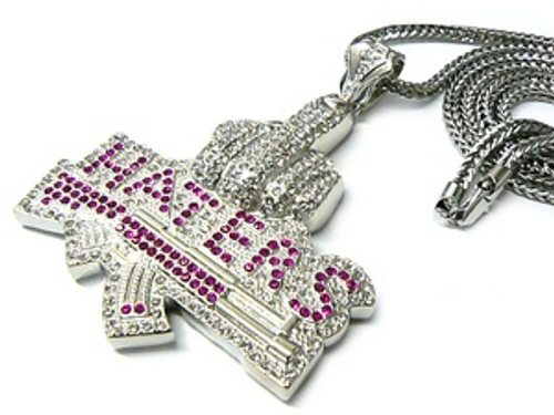 """""""Haters-Fully Iced Out Pendant w/pink cz stones FREE 36"""" Chain"""