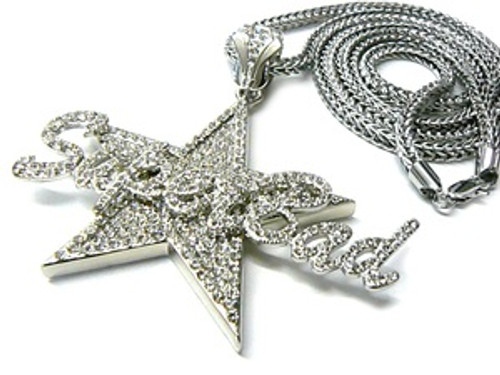 """Superbad-Silver Iced Out Pendant w/FREE 36"" Silver chain"
