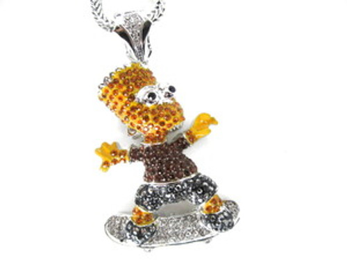 USA BART-SKATEBOARDER NEW YELLOW BROWN BLACK / SILVER Iced Pendant