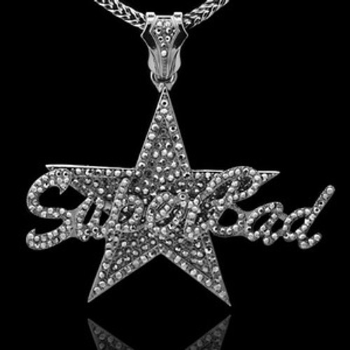 """""""Superbad-LIL BOOSIE BLACK  Iced Out Pendant w/FREE 36"""" BLACK  chain"""