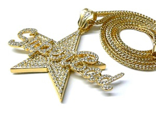 """""""Superbad-LIL BOOSIE GOLD Fully Iced Out Star Pendant w/ FREE 36"""" chain"""