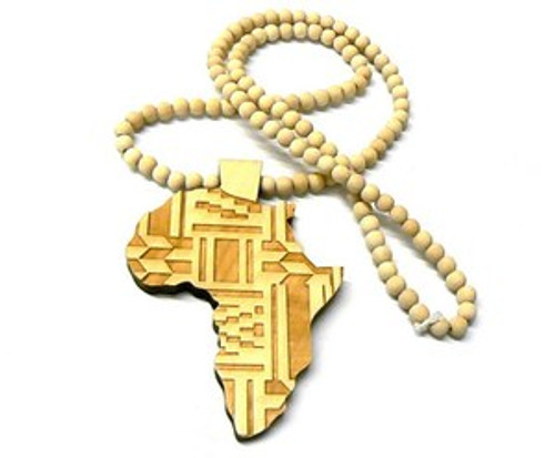 """""""NATURAL Good Wood MAINLAND AFRICA  pendant w/FREE Beaded chain"""