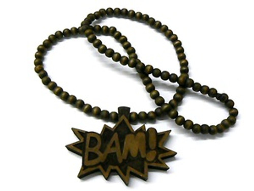 """""""BAM"""" BROWN Wood Pendant with FREE 36""""Beaded chain"""