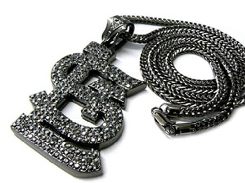 """Fully Iced Out St.Louis-Black Hip Hop Pendant w/FREE 36"" Black Hematite Chain"