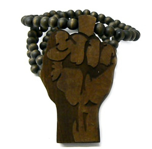 """POWER FIST BROWN  Wooden Pendant w/FREE 36"""" Beaded Chain"""