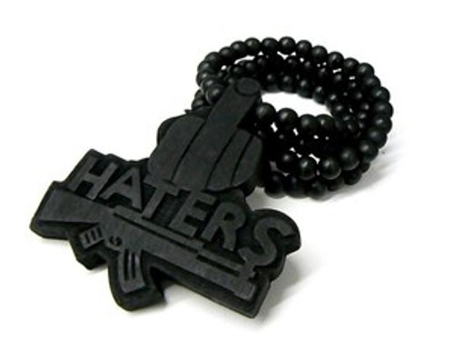 """Black Good Wood Haters pendant w/FREE Beaded chain"