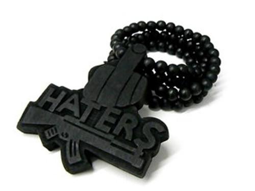"""Black Good Wood Haters pendant w/FREE Beaded chain"