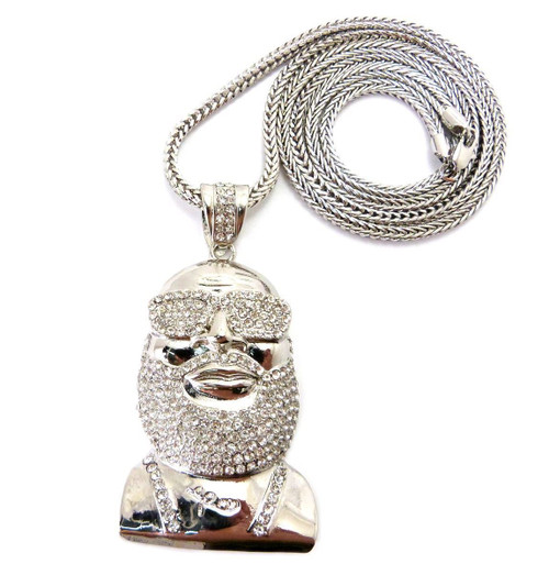 "Rick Ross SILVER-Fully Iced Out Pendant w/ FREE 36"" Chain"