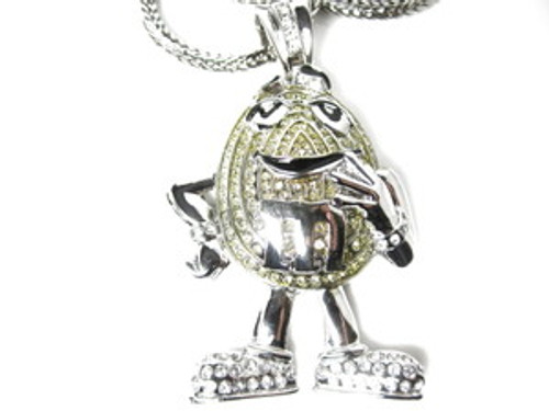 """M-ICED Out SILVER Hip Hop Pendant w/FREE 36"""" Chain"""
