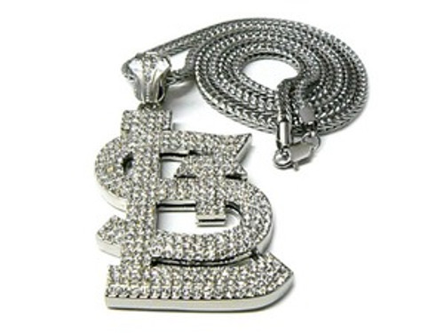 """Fully Iced Out St.Louis-SILVER Hip Hop Pendant w/FREE 36"" SILVER Chain"