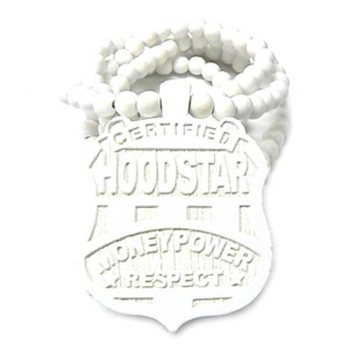 """""""Hoodstar  WHITE Wooden Pendant w/FREE 36"""" Beaded Chain"""