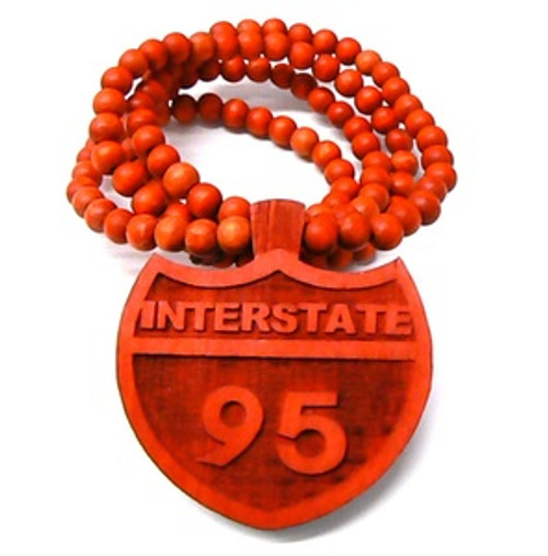 """""""I95 RED INTERSTATE Wooden Pendant w/FREE 36"""" Beaded Chain"""