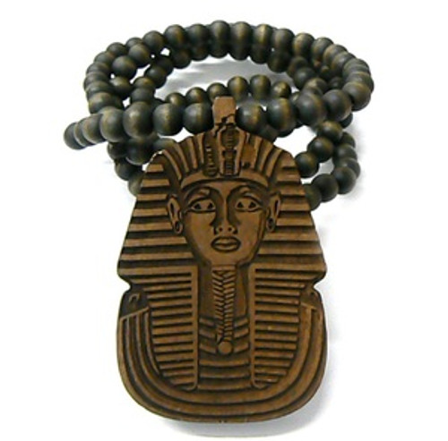 """""""King Tut BROWN Wooden pendant w/ FREE 36"""" Beaded chain"""