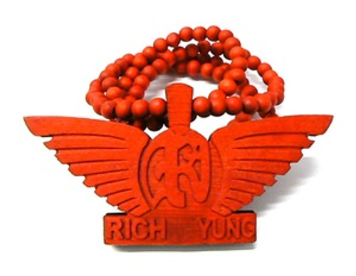 """""""RICH YUNG RED Wooden Pendant w/FREE 36"""" Beaded Chain"""