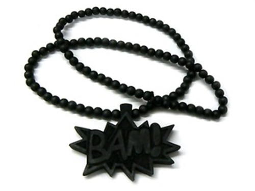 """""""BAM"""" BLACK Wood Pendant with FREE Beaded chain"""