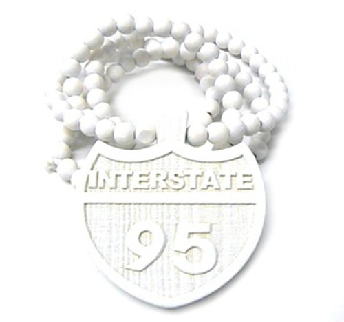 """""""I95 WHITE INTERSTATE Wooden Pendant w/FREE 36"""" Beaded Chain"""