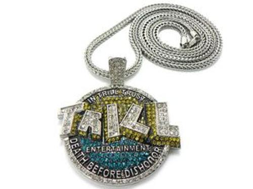 "Lil boosie&Webbie's TRILL ENT Silver Piece w/Free 36""Chain"