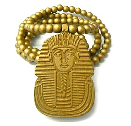 """""""King Tut GOLD Wooden pendant w/ FREE 36"""" Beaded chain"""