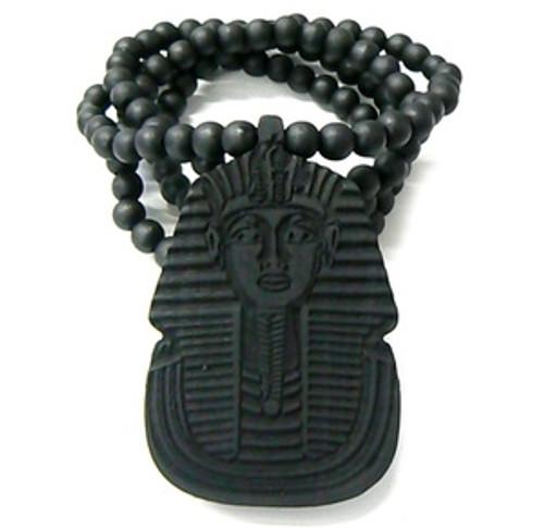 """King Tut Black Wooden pendant w/ FREE Beaded chain"