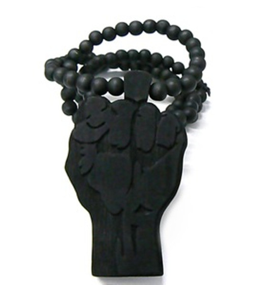 Power Fist BLACK BLM Natural Wooden Pendant w/FREE Chain ANTI-POLICE