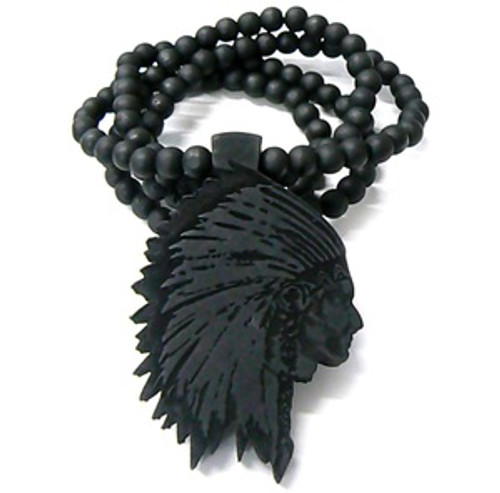 """AMERICAN INDIAN CHIEF-BLACK Wooden Pendant w/FREE 36"" Beaded Chain"