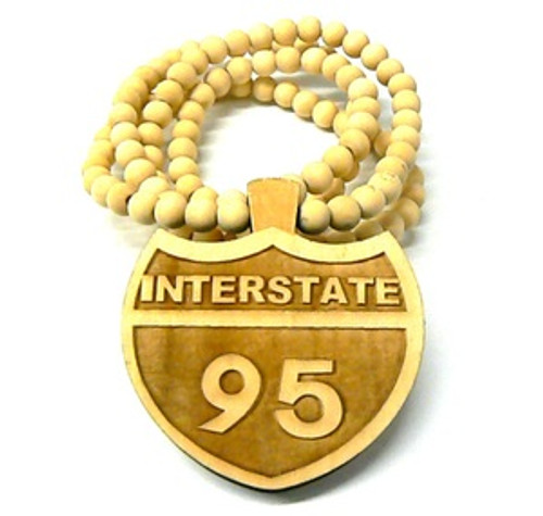 """""""I95 INTERSTATE NATURAL Wooden Pendant w/FREE 36"""" Beaded Chain"""