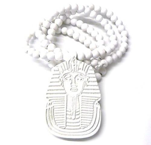 """King Tut WHITE Wooden pendant w/ FREE 36"" Beaded chain"