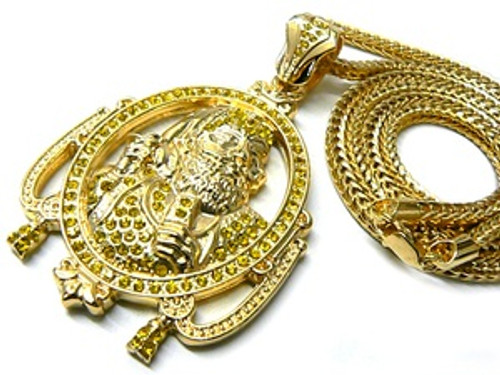 """1-Wiz Khalifa Zig Zag Man All Iced OUT Gold Piece w/FREE 36"" Chain"