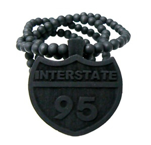 """""""I95 INTERSTATE BLACK Wooden Pendant w/FREE 36"""" Beaded Chain"""