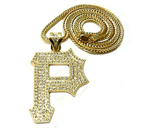 """1-Wiz Khalifa Gold ""P"" Piece w/FREE 36"" Chain *HOT"