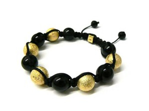 """Shambhala Bracelet-GOLD &BLACK BALL..BEADED..HOT"