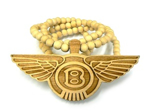 """""""Bentley-NATURAL Good Wooden Pendant w/ FREE  36""""Bead chain"""