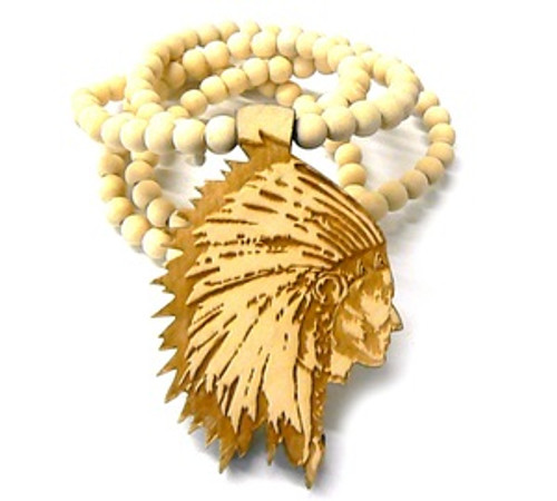 """AMERICAN INDIAN CHIEF-NATURAL Wooden Pendant w/FREE 36"" Beaded Chain"