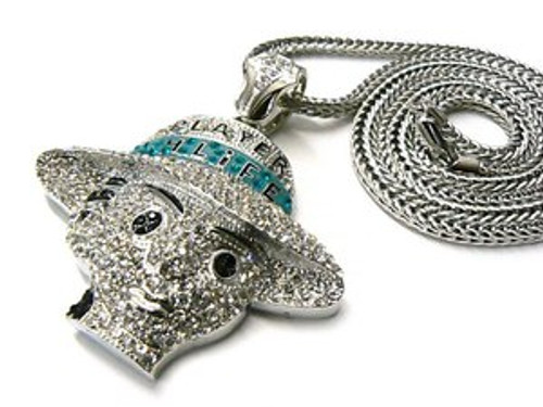 """Player H-Life Fully Iced Out Microstone  Pendant w/FREE 36"""" Chain"""
